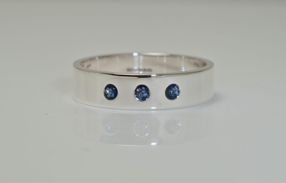 Crystallure-Band-Ring-4mm-Silver-Blue