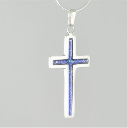 Crystallure-Cross-Necklace-Silver-Blue-Square