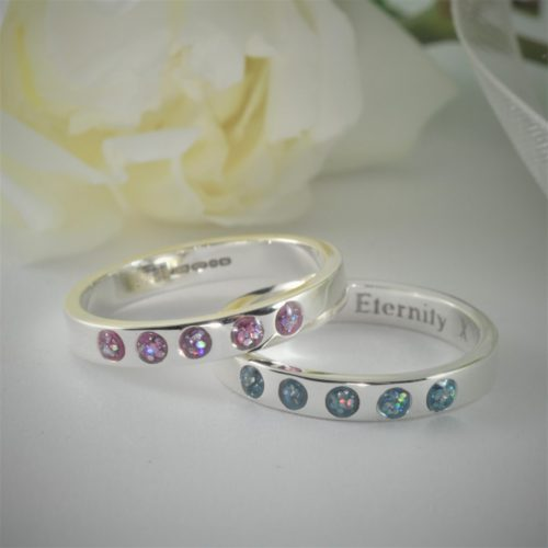 Crystallure-Eternity-Ring-5-stones-3mm-Silver - Copy