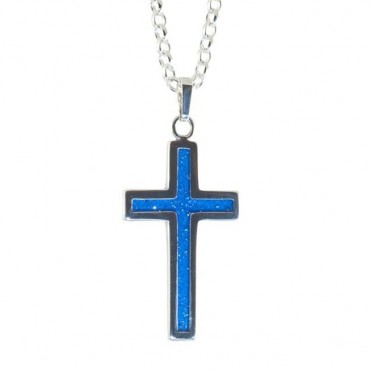 Crystallure-Cross-Necklace-Silver-Blue